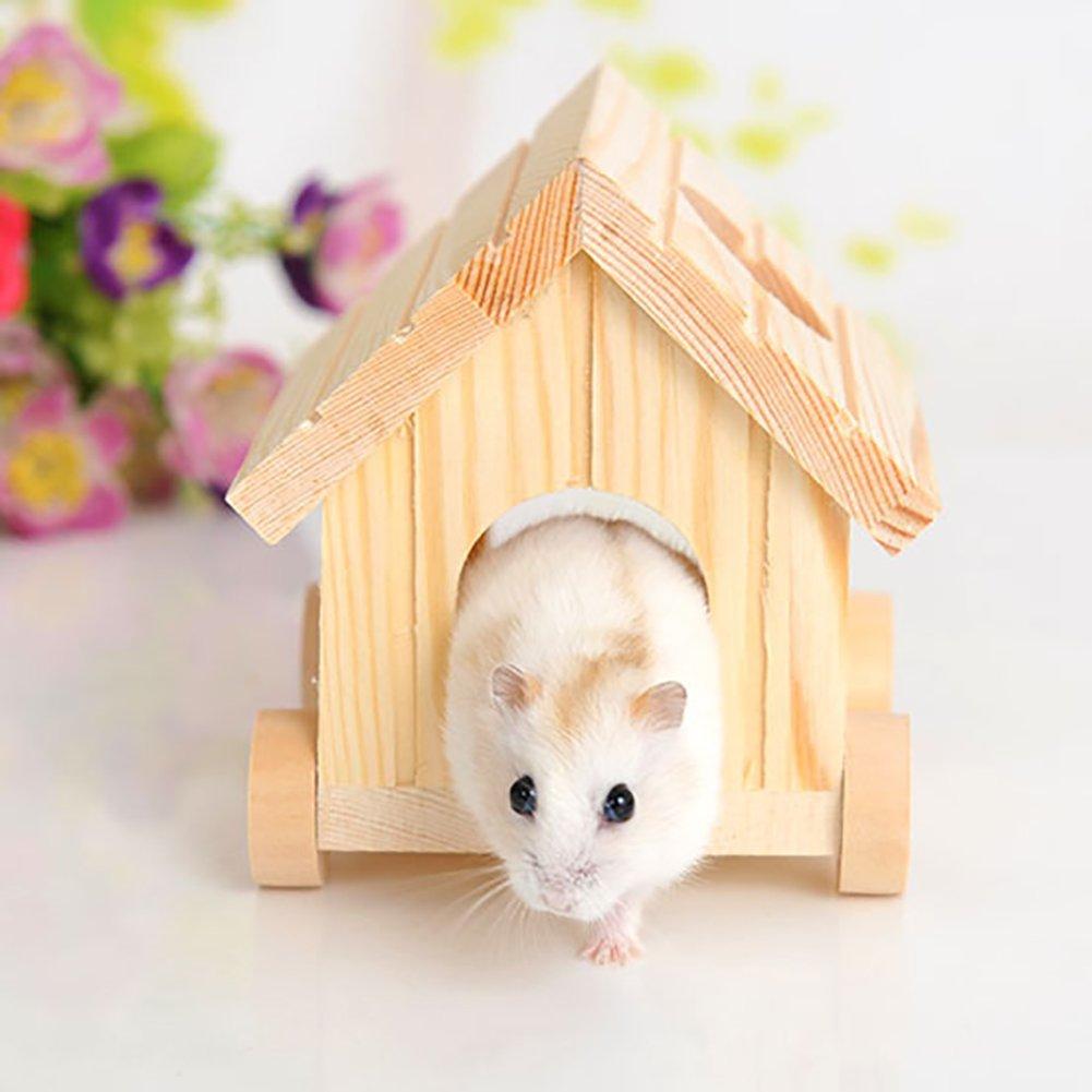 FEIDAjdzf - Cama de Dormir para Perro, Hecha a Mano, pequeña Rueda de Animal para casa, hámster de Madera, Ardilla para Mascota, Jaula para Mascotas, ...