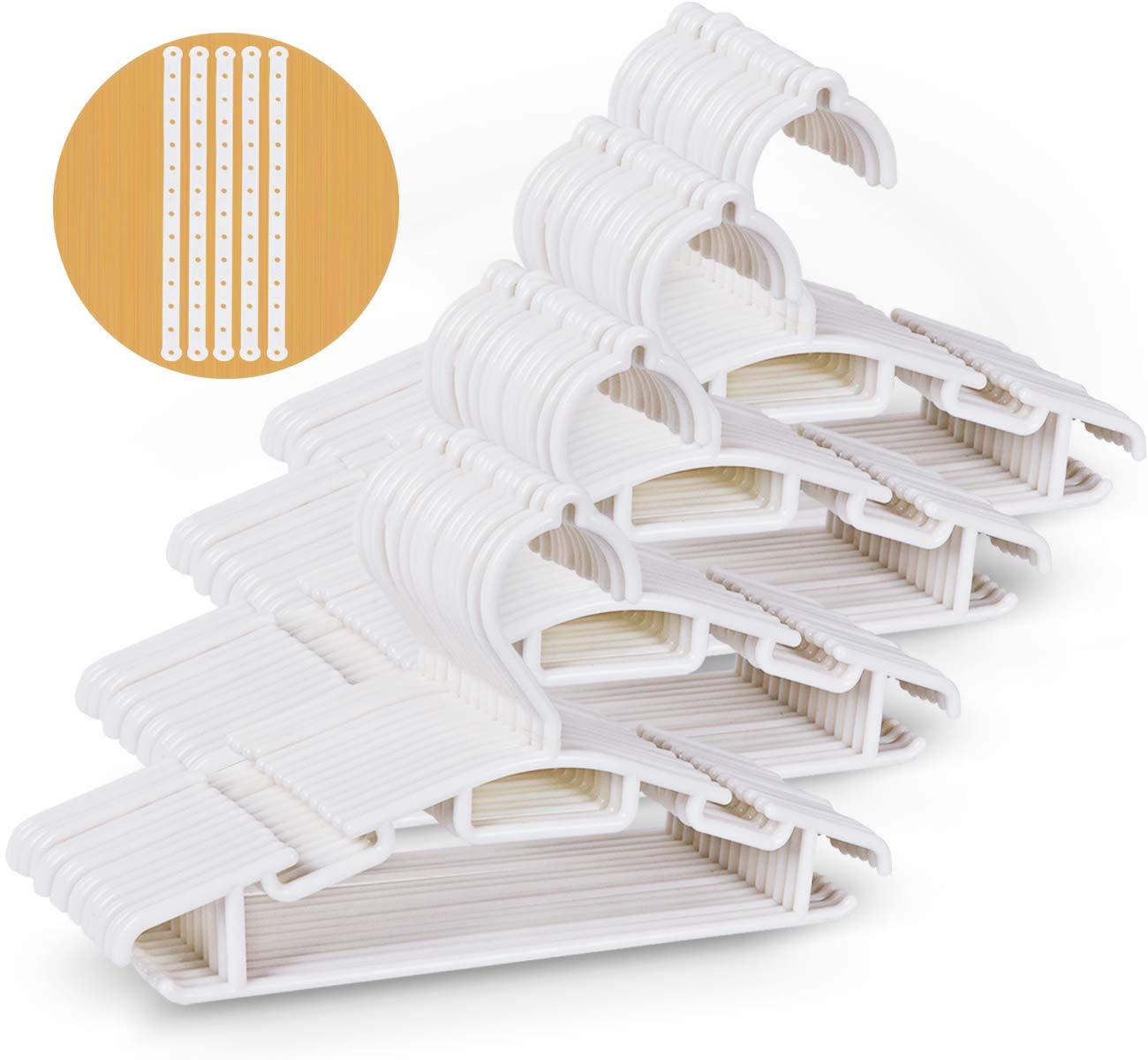 60 Pack Non-slip White Tubular Children's Hangers 12 Inch for Kids Baby Infant Toddler with Plastic Hanger Straps by ilauke
