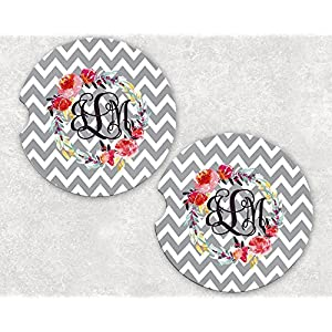 Monogrammed Car Coasters - Absorbent Sandstone - Grey Chevron Peonie Wreath (SET of 2) 67