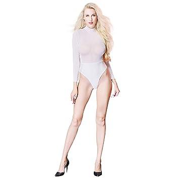 Amazon.com: Traje sexy para mujer, de látex, de manga larga ...