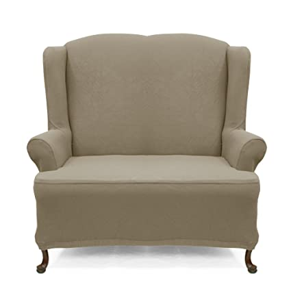 Wing Sofa Slipcover Stretch Pique Medium Taupe 706