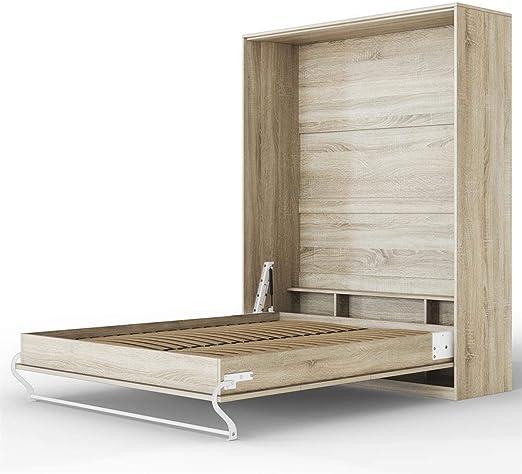 Smartbett Standard 160x200 Vertikal Eiche Sonoma Schrankbett Ausklappbares Wandbett Ideal Geeignet Als Wandklappbett Fürs Gästezimmer Büro