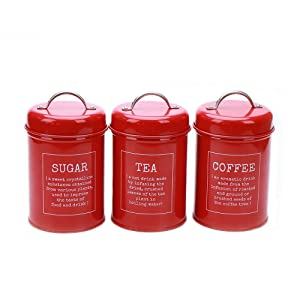 Hot Sale X021 Set of 3 Metal Food Storage Tin Canister/Jar/Container with Lid (red)