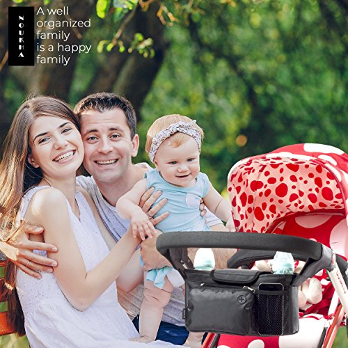 Stroller Organizer Bag -Universal Fit, Large Storage Space for Baby's Accessories and Phone, Insulated Cup Holders, Shoulder Strap, Removable Compartments, Stroller Caddy, Parent Console Organizer by Noukha (Image #6)