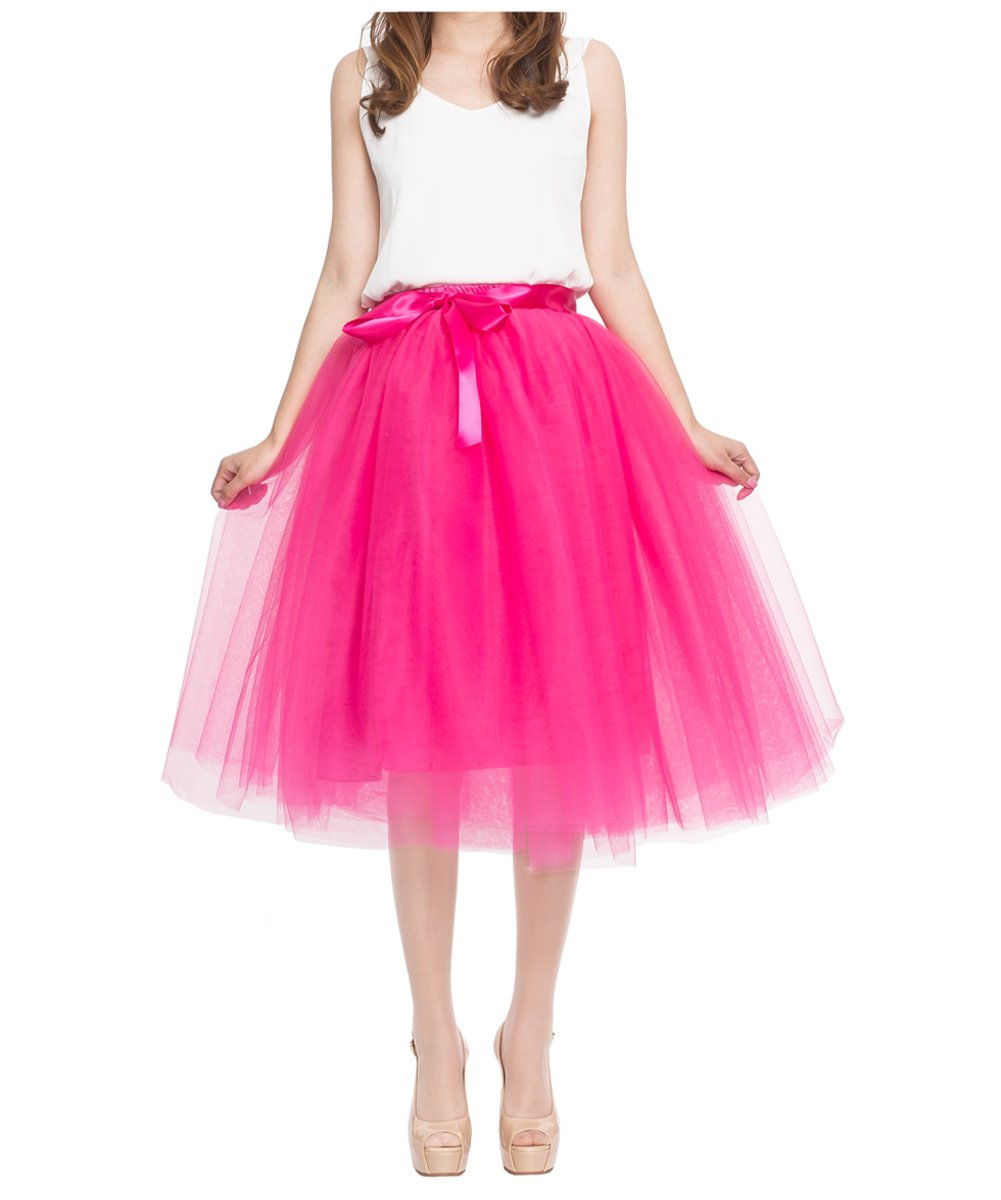 Women's High Waist Princess A Line Midi/ Knee Length Tulle Pleated Skirt for Prom Party, Hot Pink, free size