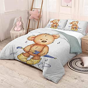 HELLOLEON (Twin) Bear Extra Large Quilt Cover Teddy Bear Caught up in Rain with Rubber Boots Holding an Umbrella Cartoon Can be Used as a Quilt Cover-Lightweight Sand Brown Yellow Blue
