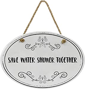 """""""Save Water Shower Together"""" Ceramic Funny Bathroom Sign 