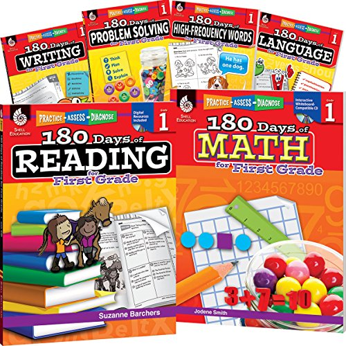 180 Days of First Grade Practice, 1st Grade Workbook Set for Kids Ages 5-7, Includes 6 Assorted First Grade Workbooks to Practice Math, Reading, ... and Sight Word Skills (180 Days of Practice) from Shell Education