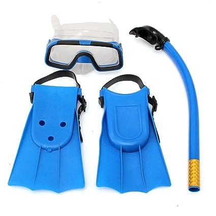 TENGGO Niños Junior Snorkel Buceo Set Máscara Gafas Aletas Buceo Natacion Buceo Niños Conjunto-Azul