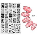 Banstore Christmas Nail Stamping Plates DIY Nail Art Image Stamp Stamping Plates Manicure Template. (B)