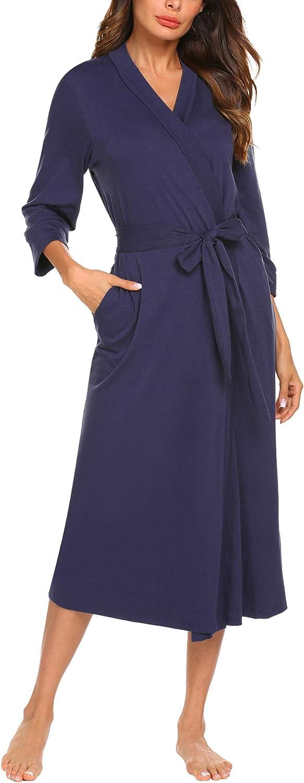 UNibelle Peignoir de Bain Femme Longue Robe de Chambre en Polaire Col V Manches Longues Blue Marine