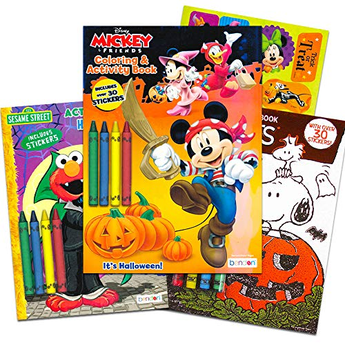 Disney Junior Happy Halloween (Disney Sesame Street Halloween Coloring Books Super Set Kids Toddlers (3 Books Featuring Disney Mickey Mouse, Charlie Brown, Elmo and)