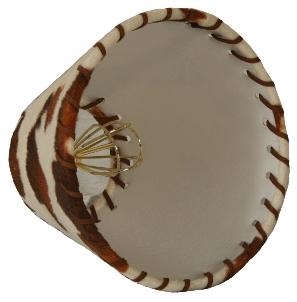 Royal Designs 6'' Brown & Beige Cowhide Chandelier Lamp Shade with Lace, 3 x 6 x 4.5 (CS-962-6)