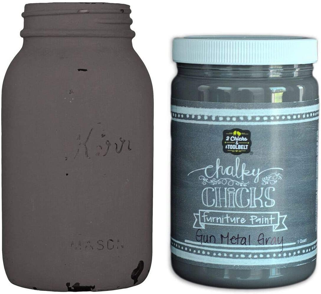 Chalky Chicks | Chalk Finish Paint | Perfect For Furniture, Cabinets, Home Decor, & DIY Craft Projects | 32 oz | Gun Metal Gray