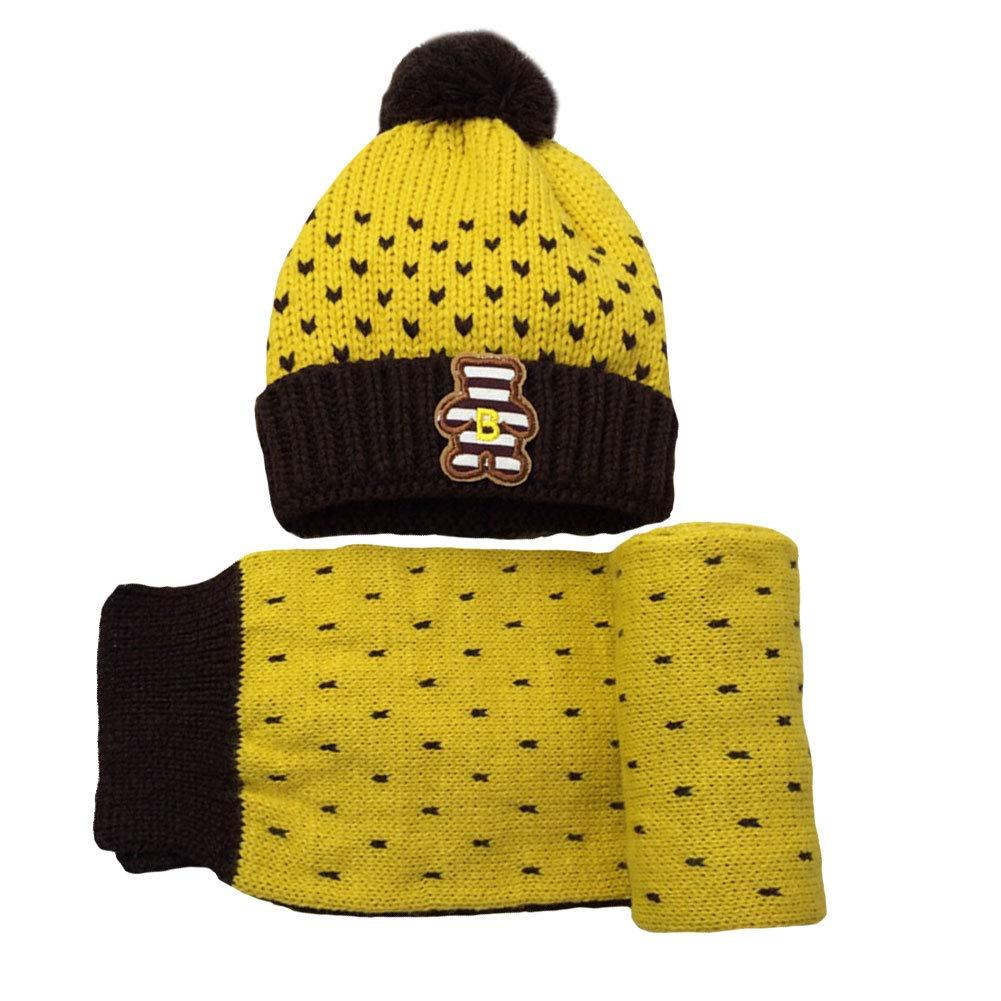 M/&A Toddler Kids Winter Warm Fleece Lined Beanie Hat Boys Girls Knit Hats Scarf 2Pcs Set