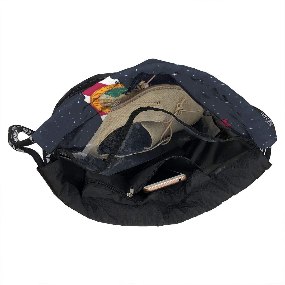 Abstract Florida State Map With Flag Drawstring Bag Multifunctional String Backpack Custom Cinch Backpack Rucksack Gym Bag