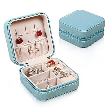 CLLCR Caja De Joyería - Caja De Joyería Portátil Viajes Creativos/Aretes Pendientes Joyería Caja De Almacenamiento/Caja De Joyería Pequeña Personalizada: ...
