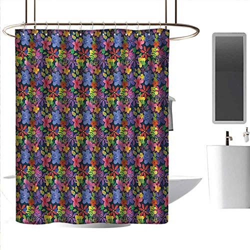 homehot Shower Curtains Leaves Floral,Sixties Inspired Rainbow Color Lilacs Petals Roses Doodle Style Spring Foliage Image,Multicolor,W72 x L96,Shower Curtain for -