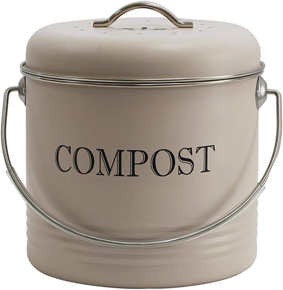 4W Kitchen Compost Bin, 1 Gallon Indoor Compost Bucket for Kitchen Countertop with Lid, Good for Food Scraps Composting One-Piece for Leak Proof - Includes 1 Charcoal Filter