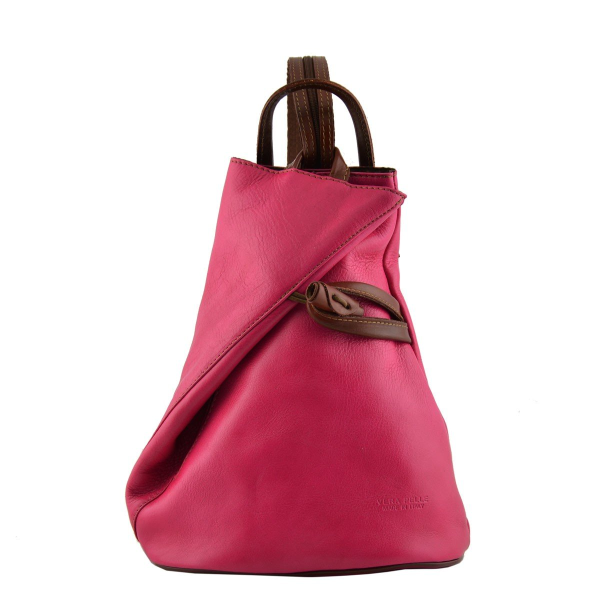 7beb50c482a22c Made In Italy Leather Backpack For Women With Zipped Straps Color  Fuchsia/Brown Tuscan Leather - Backpack: Amazon.co.uk: Shoes & Bags