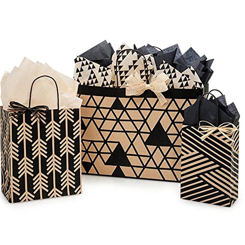 Kinetic Ink Kraft and Black Paper Shopping Bags - Assortment of 3 sizes - 375 Pack by NW