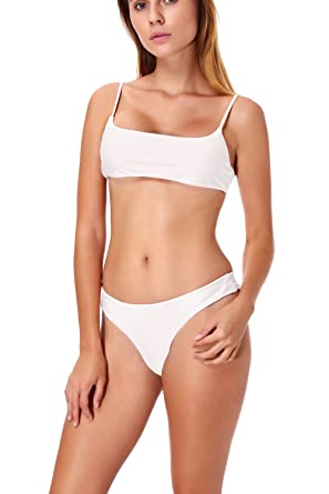 cebd77d845 Image Unavailable. Image not available for. Color  Womens Bikini Set High  Cut Bralette Top Cheeky Bottoms ...