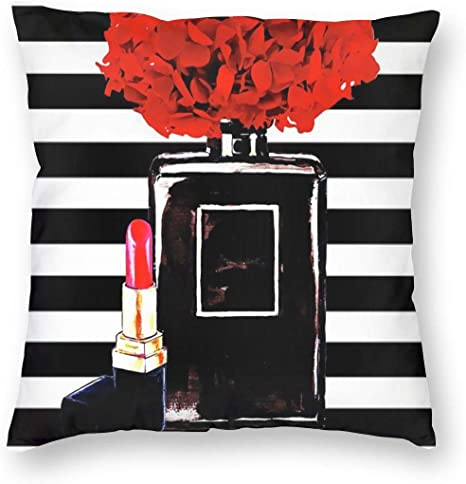 Antkondnm Black Perfume Bottle And Lipstick Decorative Square Throw Pillow Covers Velvet Cushion Cover 18x18 Inches For Home Couch Sofa Bench Decor Home Kitchen