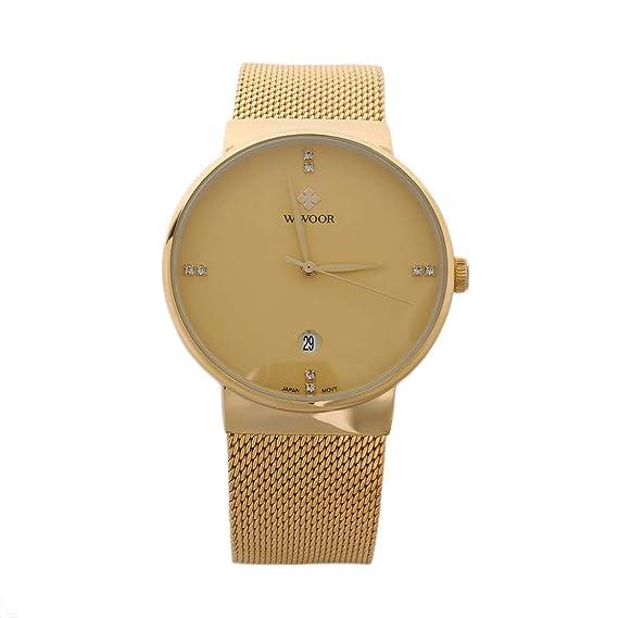 WWOOR Lujo diseño Hombres Relojes de Cuarzo Ultra Delgado Banda de Acero Inoxidable Fecha Reloj Deportivo