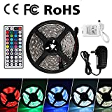 #6: Z LED Strip Lights Waterproof Tape Lights Dimmable LED Lights Kit 16.4ft DC 12V 150 Units 5050 RGB LED TV Backlight Strip with 44 Key Remote Controller and Power Adapter for Home, Kitchen,Decoration