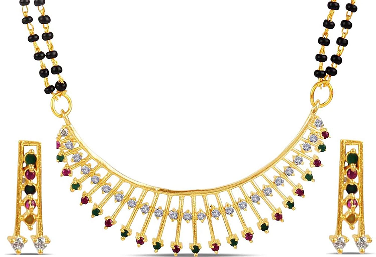 South Indian Traditional American Diamond Black Choker Necklace Earrings Jewellr