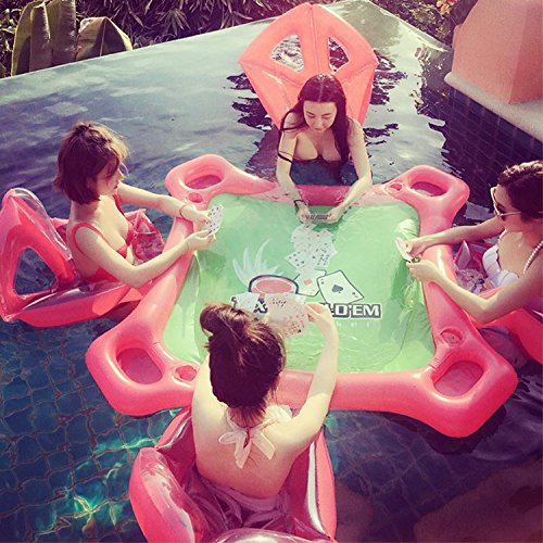 ZJKC Inflatable seat Mahjong Table Floating on Water drainage protection PVC Summer Party 4 Person Poker Tables Pool Inflatable Lounge by ZJKC