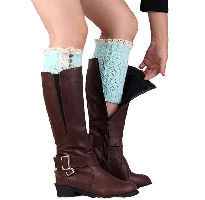Calcetines de Piernas, Holacha Botas Botines Calentadores de Punto con Cordón Invierno para Mujeres (