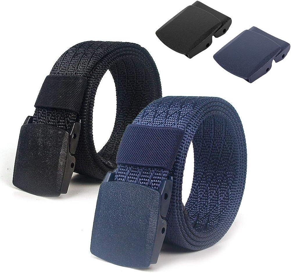 Lalacolorful 2 Pack Cintur/ón de Nylon Cintur/ón de Cintur/ón T/áctico para Hombre Cintur/ón de Cintur/ón de Cintur/ón de Cintur/ón de Correa Militar al Aire Libre con Hebilla de Metal