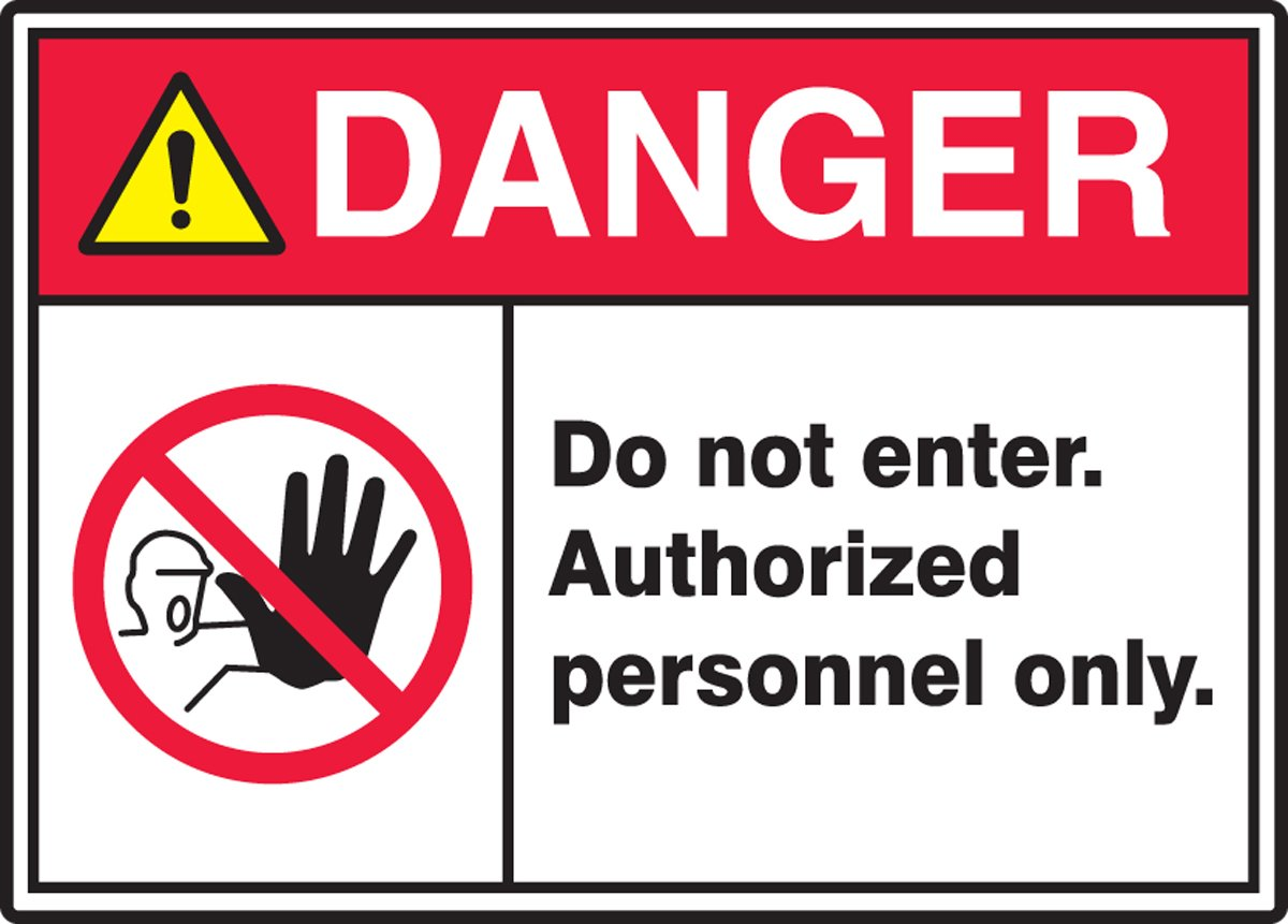 14 Wide Red//Black//Yellow on White 0.060 Thickness AUTHORIZED PERSONNEL ONLY Sign Accuform MRDM104XT LegendDANGER DO NOT ENTER 10 Height Dura-Plastic 10 Length