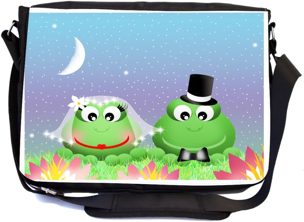 Rikki Knight Frogs in Love Wedding Illustration Design Multifunctional Messenger Bag - School Bag - Laptop Bag - with Padded Insert for School or Work - Includes Matching Compact Mirror