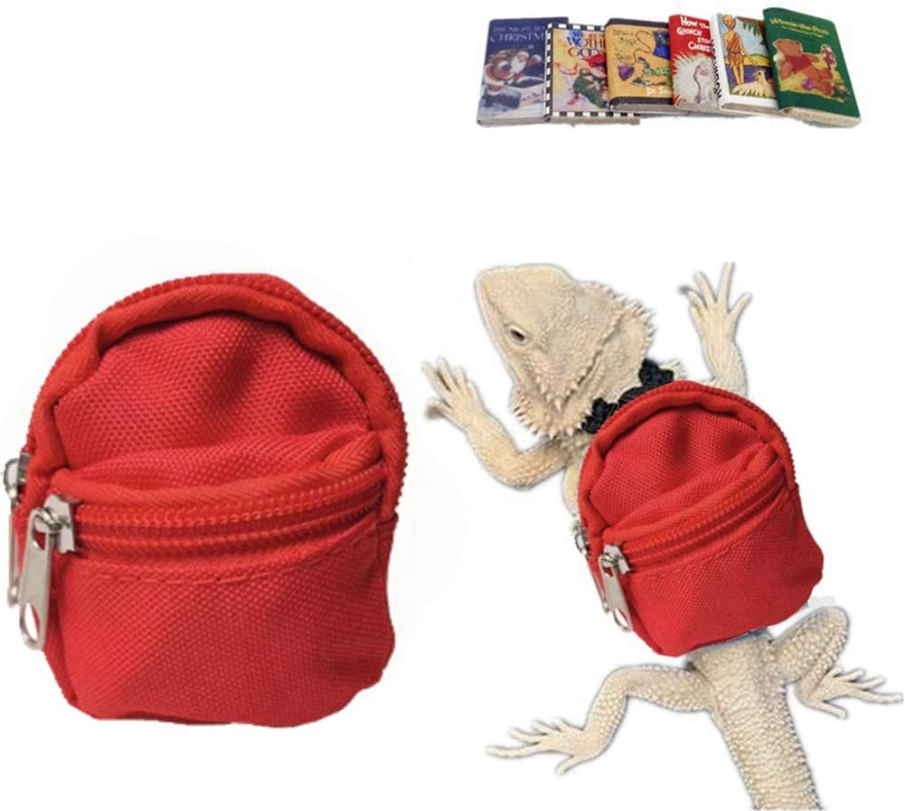 HAICHEN TEC Lizard Backpack for Bearded Dragons School Bag & Books Set  Reptile Apparel Accessories Handmade Photo Party Back to School Supplies  for