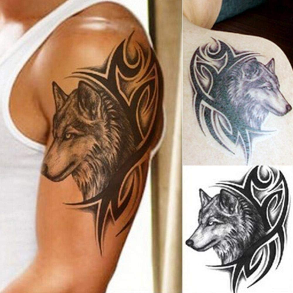 Tatuaje temporal de lobo pegatina hombres mujeres negro animal ...