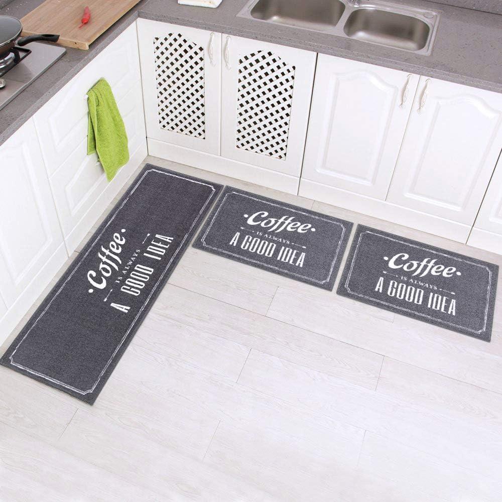 Carvapet 3 Piece Non-Slip Kitchen Mat Rubber Backing Doormat Runner Rug Set, Coffee Design (Grey 15