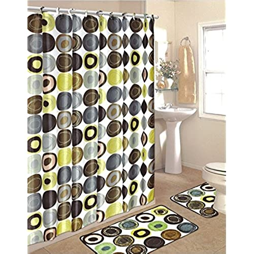Green Bathroom Sets With Shower Curtain And Rugs And Accessories: Amazon.com