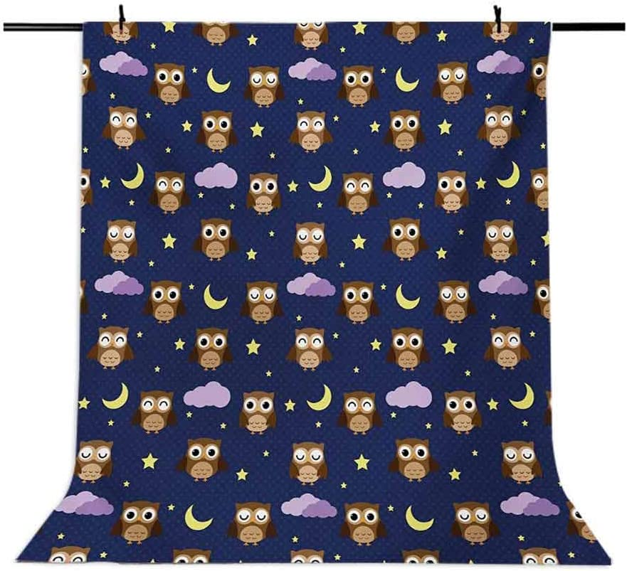 Nursery 6.5x10 FT Photo Backdrops,Cute Owls in an Starry Night and Moon Happy Sleepy and Alert Animals Background for Photography Kids Adult Photo Booth Video Shoot Vinyl Studio Props