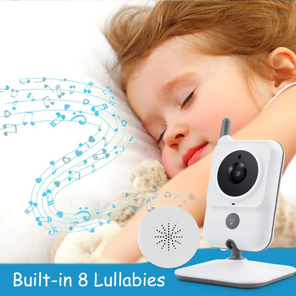 GHB Baby Monitor Video Baby Monitor with Camera 3.2 Inch Handheld Parent Unit Infrared Night Vision Room Temperature Display 2-Way Talk Baby Lullabies