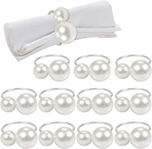 12 Pack Pearls Flower Napkin Rings, Silver Serviette Buckle Holder for Xmas, Family Gathering, Dinner Party, Wedding Decor (2 Silver Pearls)