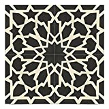 Moroccan Mosaic & Tile House CTP40-01 Bahja Handmade Cement Tile, 8x8'', Black/White