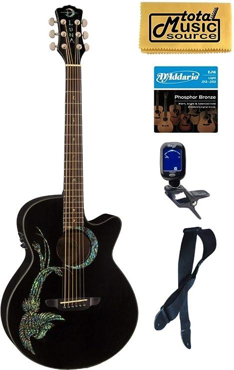 Luna FAU PHX - Guitarra acústica Fauna Phoenix, color negro ...