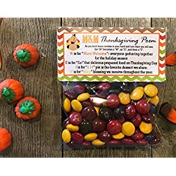 M&M's© Thanksgiving Poem Treat Bags and Stickers, Set of 20