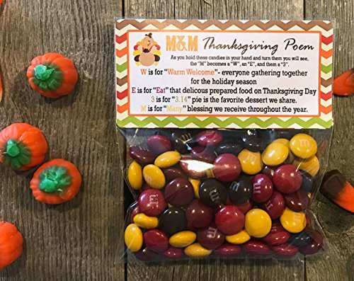 M&M's© Thanksgiving Poem Treat Bags and Stickers, Set of 20 -