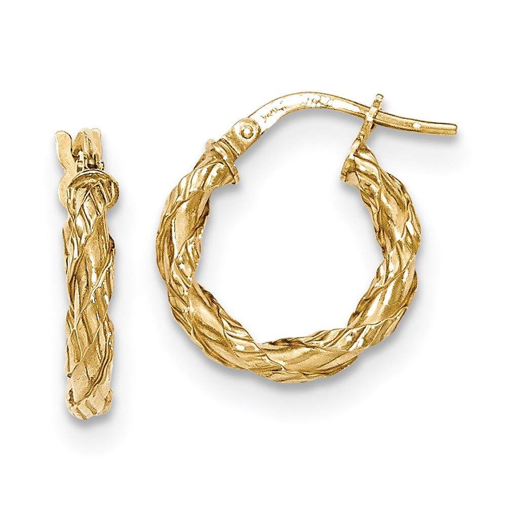 Lex /& Lu 14k Yellow Gold Twisted Rope Hoop Earrings