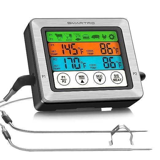SMARTRO ST54 - Termómetro digital de doble sonda para carne, para ...