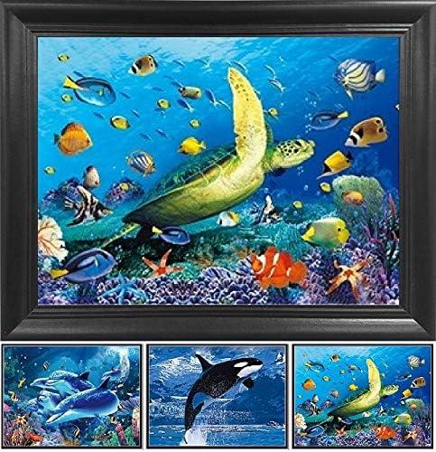 "Poster 19/"" x 13/"" Dolphins Underwater"