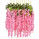 DearHouse-6-Pack-375-FeetPiece-Artificial-Fake-Wisteria-Vine-Ratta-Hanging-Garland-Silk-Flowers-String-Home-Party-Wedding-DecorPink